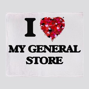 I Love My General Store Throw Blanket