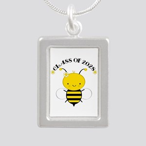 Class Of 2028 bee Silver Portrait Necklace