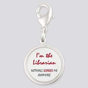 Nothing Scares Librarian Silver Round Charm
