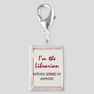 Nothing Scares Librarian Silver Portrait Charm