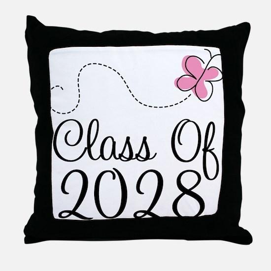 Class of 2028 Butterfly Throw Pillow