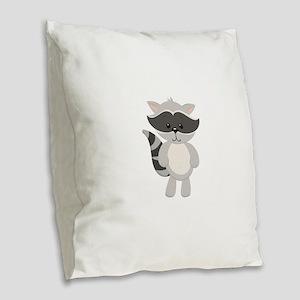 Cartoon Raccoon Burlap Throw Pillow