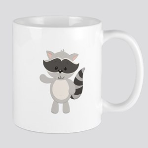 Cartoon Raccoon Waving Mugs
