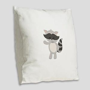 Cartoon Raccoon Waving Burlap Throw Pillow