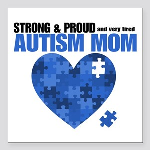 """Autism Mom SP Square Car Magnet 3"""" x 3"""""""