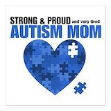 Autism mom Square Car Magnets