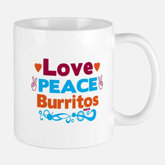 Love Peace Burritos Mugs
