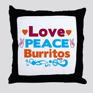 Love Peace Burritos Throw Pillow