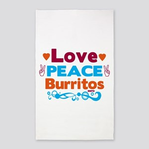 Love Peace Burritos Area Rug