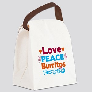 Love Peace Burritos Canvas Lunch Bag