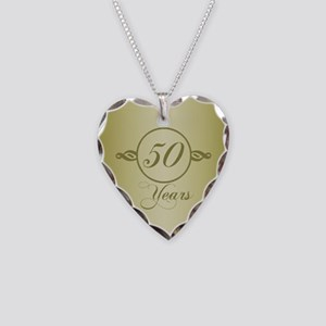 50th Anniversary Necklace Heart Charm