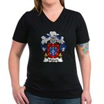 Migueis Family Crest Women's V-Neck Dark T-Shirt