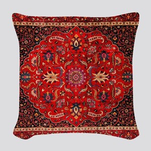 Persian Mashad Rug Woven Throw Pillow