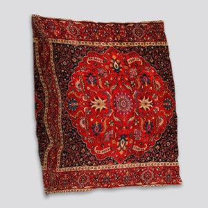 Persian Mashad Rug Burlap Throw Pillow