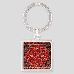 Persian Mashad Rug Square Keychain