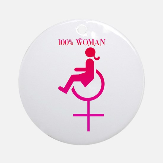 Disabled 100% Woman Christmas Ornament (Round)
