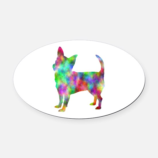 Multi Color Chihuahua Oval Car Magnet