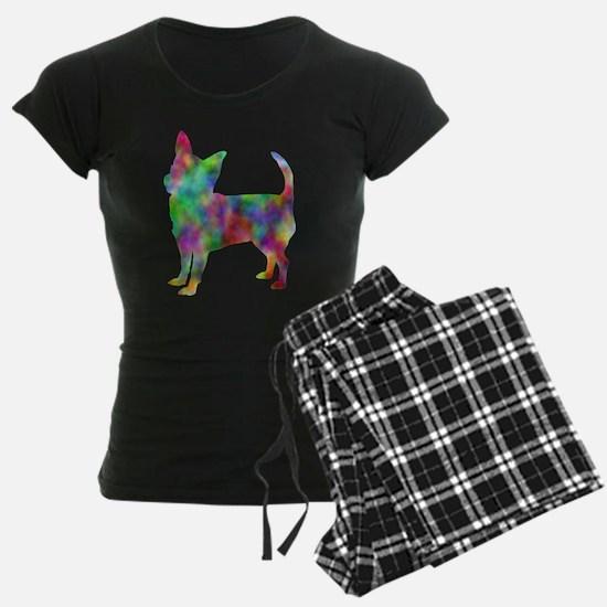 Multi Color Chihuahua Women's Dark Pajamas