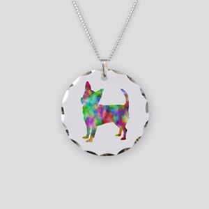 Multi Color Chihuahua Necklace Circle Charm