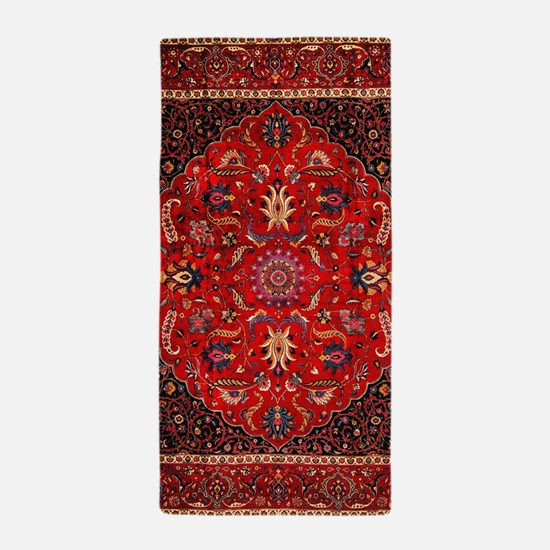 Persian Mashad Rug Beach Towel