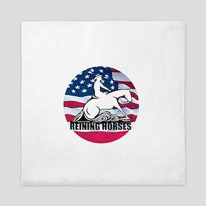 Reining Horses USA Flag Queen Duvet