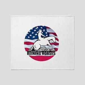 Reining Horses USA Flag Throw Blanket