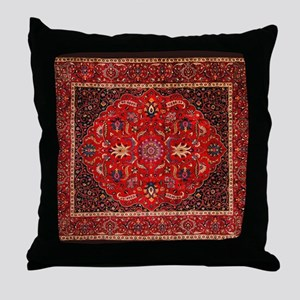 Persian Mashad Rug Throw Pillow