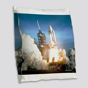 Space Shuttle Columbia KSC Burlap Throw Pillow