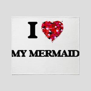 I Love My Mermaid Throw Blanket