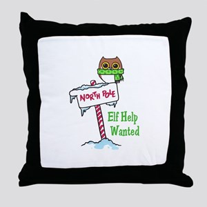 NORTH POLE HELP WANTED Throw Pillow