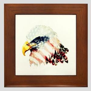 USA American Flag Bald Eagle Design Framed Tile