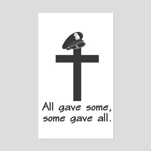 Police Memorial Cross Rectangle Sticker