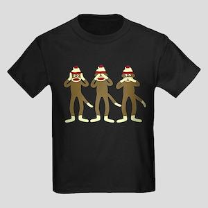 Speak No Evil Sock Monkeys Kids Dark T-Shirt