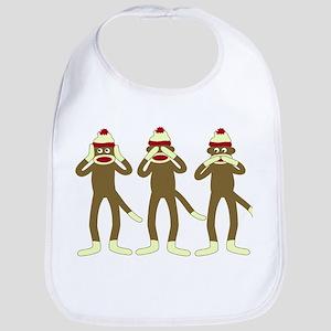 Hear See Speak No Evil Sock Monkeys Baby Bib