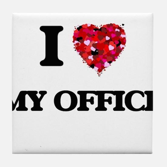 I Love My Office Tile Coaster