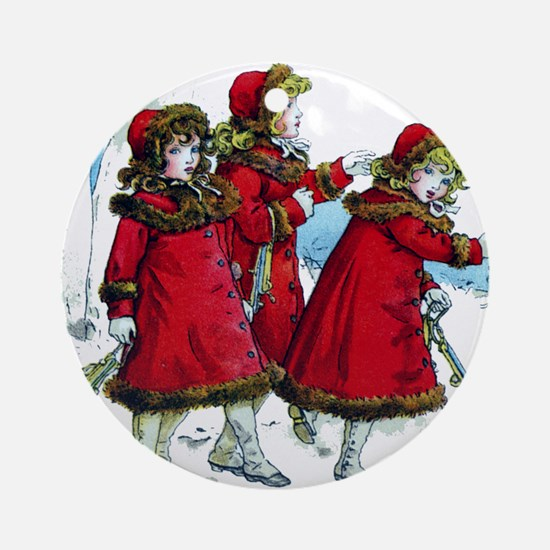 VICTORIAN ICE SKATERS Ornament (Round)