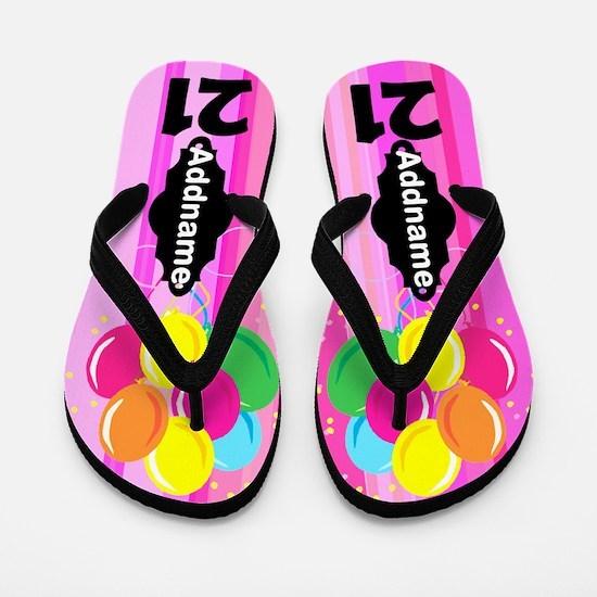 Pretty Pink 21st Flip Flops
