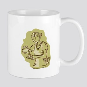 Waitress Pouring Tea Cup Vintage Etching Mugs