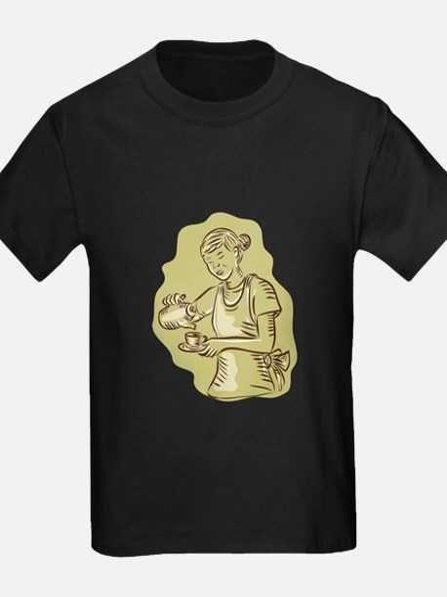 Waitress Pouring Tea Cup Vintage Etching T-Shirt