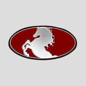 Silver Stallion on Dark Red Patch