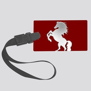 Silver Stallion on Dark Red Large Luggage Tag