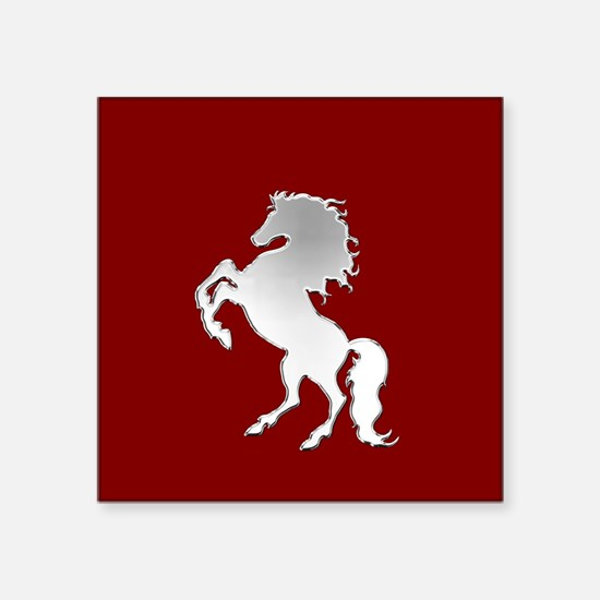 Silver Stallion on Dark Red Sticker