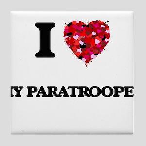 I Love My Paratrooper Tile Coaster