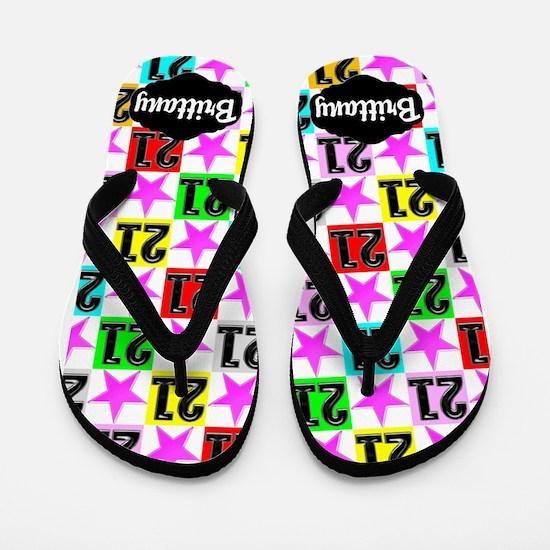 21st Pink Star Flip Flops