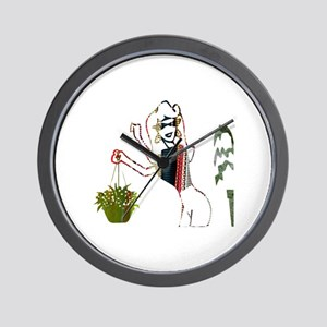 The Lady and Her Plants Wall Clock