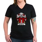 Malafaia Family Crest Women's V-Neck Dark T-Shirt