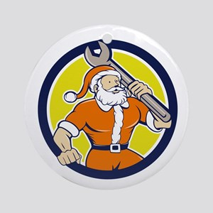 Santa Claus Mechanic Spanner Circle Cartoon Orname