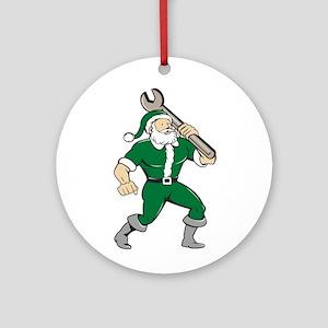 Santa Claus Mechanic Spanner Isolated Cartoon Orna