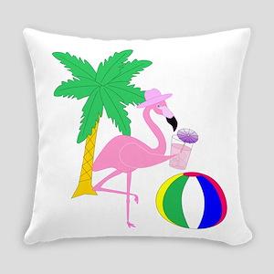 Pink Flamingo Tourist Everyday Pillow