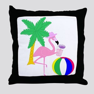 Pink Flamingo Tourist Throw Pillow